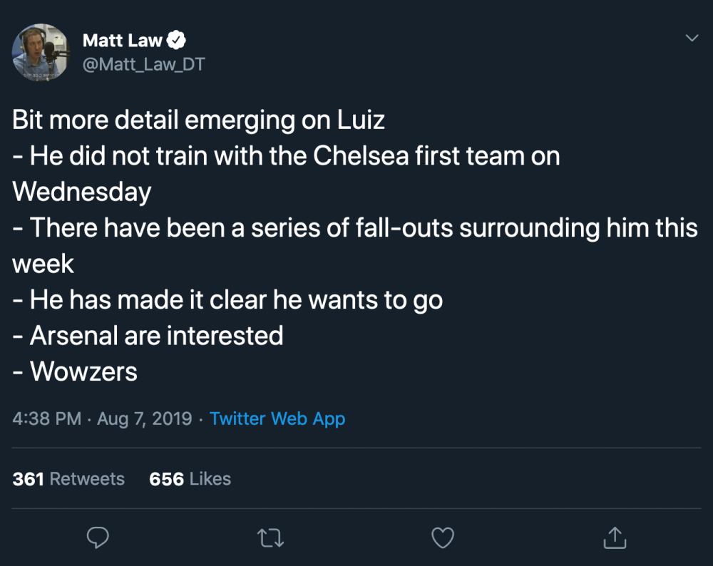 Matt Law on Twitter Bit more detail emerging on Luiz - He did not train with the Chelsea first te[...].png