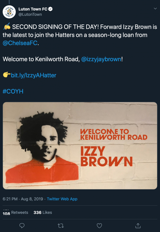 Luton Town FC on Twitter ✍️ SECOND SIGNING OF THE DAY Forward Izzy Brown is the latest to join th[...].png